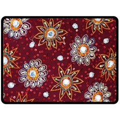 India Traditional Fabric Double Sided Fleece Blanket (large)