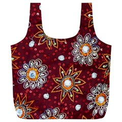 India Traditional Fabric Full Print Recycle Bags (L)