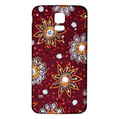India Traditional Fabric Samsung Galaxy S5 Back Case (white)