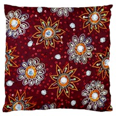 India Traditional Fabric Large Flano Cushion Case (Two Sides)