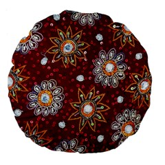 India Traditional Fabric Large 18  Premium Flano Round Cushions