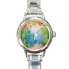 Park Nature Painting Round Italian Charm Watch