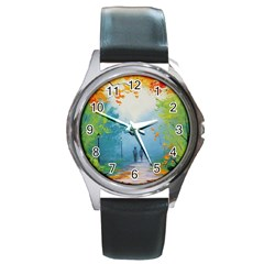 Park Nature Painting Round Metal Watch