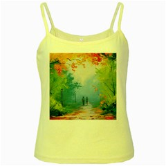 Park Nature Painting Yellow Spaghetti Tank