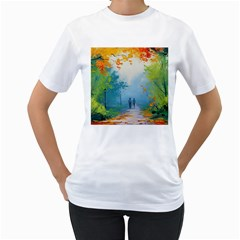 Park Nature Painting Women s T Shirt (white) (two Sided)