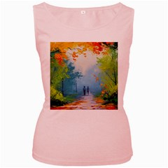 Park Nature Painting Women s Pink Tank Top