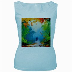 Park Nature Painting Women s Baby Blue Tank Top