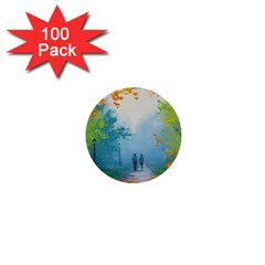 Park Nature Painting 1  Mini Buttons (100 Pack)
