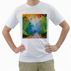 Park Nature Painting Men s T-Shirt (White) (Two Sided)