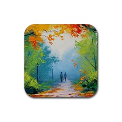 Park Nature Painting Rubber Coaster (square)