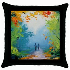 Park Nature Painting Throw Pillow Case (black)