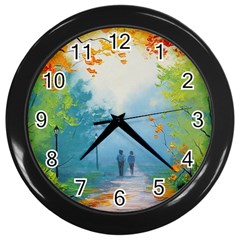 Park Nature Painting Wall Clocks (Black)