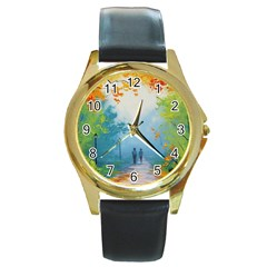 Park Nature Painting Round Gold Metal Watch