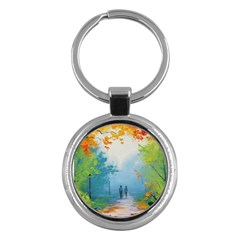 Park Nature Painting Key Chains (Round)