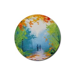 Park Nature Painting Rubber Coaster (round)