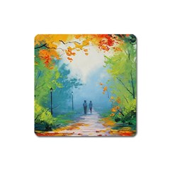 Park Nature Painting Square Magnet