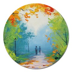 Park Nature Painting Magnet 5  (round)