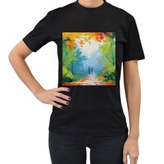 Park Nature Painting Women s T Shirt (black) (two Sided)