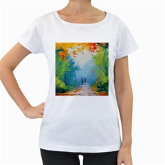 Park Nature Painting Women s Loose Fit T Shirt (white)