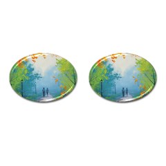 Park Nature Painting Cufflinks (oval)