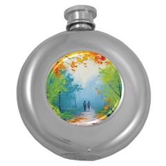 Park Nature Painting Round Hip Flask (5 Oz)