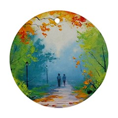 Park Nature Painting Round Ornament (two Sides)