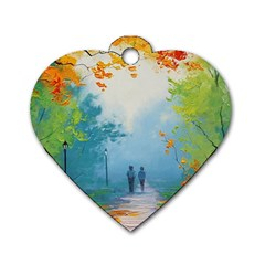 Park Nature Painting Dog Tag Heart (One Side)