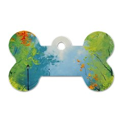 Park Nature Painting Dog Tag Bone (Two Sides)