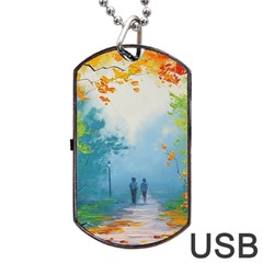 Park Nature Painting Dog Tag Usb Flash (two Sides)