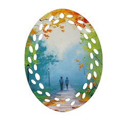 Park Nature Painting Ornament (Oval Filigree)
