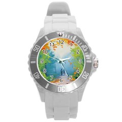 Park Nature Painting Round Plastic Sport Watch (L)