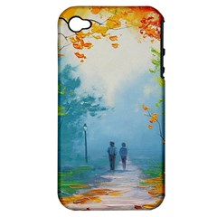 Park Nature Painting Apple Iphone 4/4s Hardshell Case (pc+silicone)