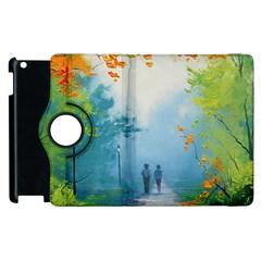 Park Nature Painting Apple Ipad 2 Flip 360 Case