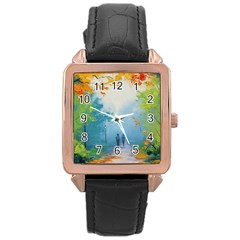 Park Nature Painting Rose Gold Leather Watch
