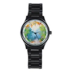 Park Nature Painting Stainless Steel Round Watch