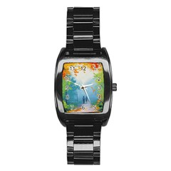 Park Nature Painting Stainless Steel Barrel Watch