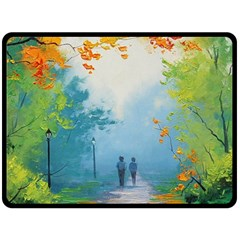 Park Nature Painting Double Sided Fleece Blanket (large)