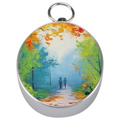 Park Nature Painting Silver Compasses