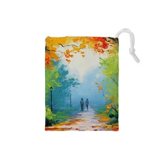 Park Nature Painting Drawstring Pouches (small)