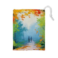 Park Nature Painting Drawstring Pouches (large)