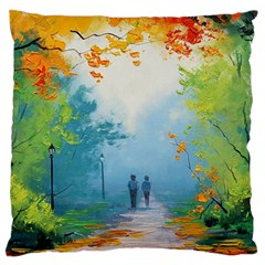 Park Nature Painting Large Flano Cushion Case (two Sides)