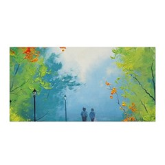 Park Nature Painting Satin Wrap