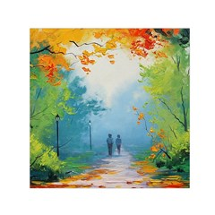 Park Nature Painting Small Satin Scarf (Square)