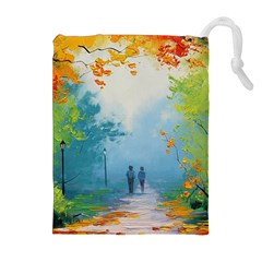 Park Nature Painting Drawstring Pouches (Extra Large)