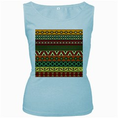 Mexican Folk Art Patterns Women s Baby Blue Tank Top