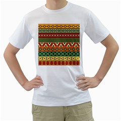 Mexican Folk Art Patterns Men s T Shirt (white) (two Sided)