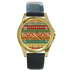 Mexican Folk Art Patterns Round Gold Metal Watch