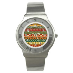 Mexican Folk Art Patterns Stainless Steel Watch