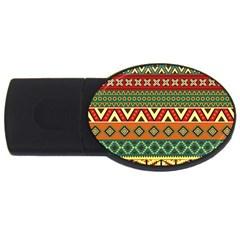 Mexican Folk Art Patterns Usb Flash Drive Oval (4 Gb)