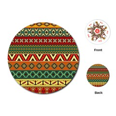 Mexican Folk Art Patterns Playing Cards (Round)
